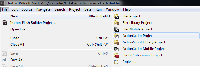 New ActionScript project in FlashBuilder